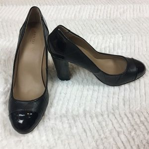 Ann Taylor Suz Quilted Block Heels Faux Leather 7